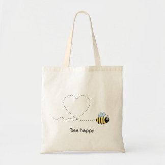 Happy positive bee in love cartoon tote