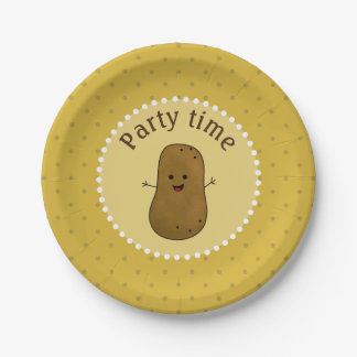 Happy Potato Party Time Paper Plate