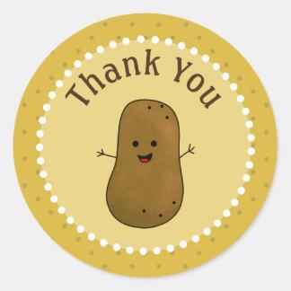 Happy Potato Thank You Classic Round Sticker