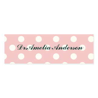 Happy ,powder pink,polka dot,white,girly,country, pack of skinny business cards