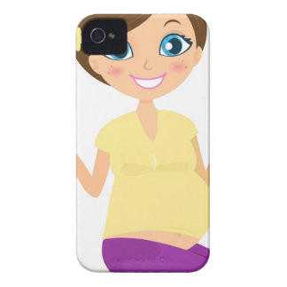 Happy pregnant girl with Belly Yellow iPhone 4 Case-Mate Case