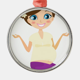 Happy pregnant girl with Belly Yellow Metal Ornament