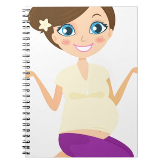 Happy pregnant girl with Belly Yellow Notebook