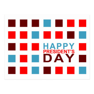 Happy President's Day mod squares Postcard