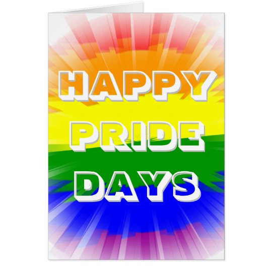 Happy Pride Days Bursting Rainbow Flag Gay Pride Card