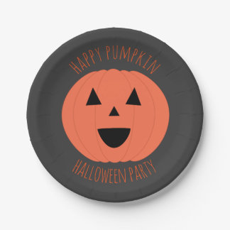 Happy Pumpkin Halloween Party Personalized Plates 7 Inch Paper Plate
