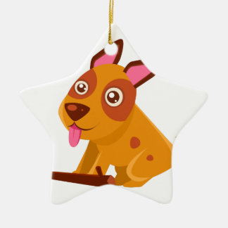Happy Puppy Brought A Stick Ceramic Ornament