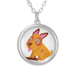 Happy Puppy Brought A Stick Silver Plated Necklace