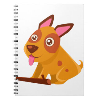 Happy Puppy Brought A Stick Spiral Notebook
