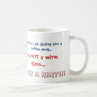 Happy Purim coffee mug TAKE A HINT!!! No wine!