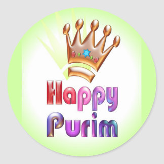 Happy Purim fun sticker Crown with Star of David