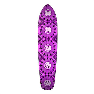 Happy Purple Flowers Girl's Custom Pro Long Board Custom Skateboard