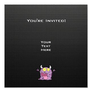 "Happy Purple Monster; Sleek 5.25"" Square Invitation Card"