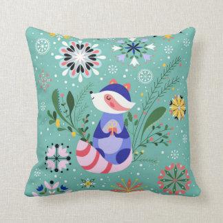 Happy Raccoon Pillow