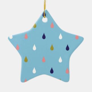 Happy rain drops ceramic ornament