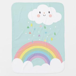 Happy Rainbow Cloud Modern Nursery Pastel Sky Baby Blanket