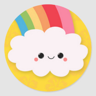 Happy Rainbow Cloud on Yellow Round Sticker