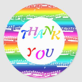 happy rainbow colorful music thank you classic round sticker