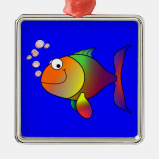 Happy Rainbow Fish Metal Ornament