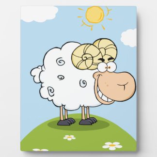 Happy Ram Cartoon Mascot Plaque