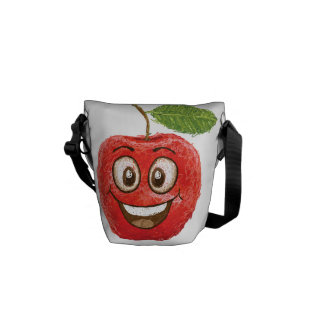 happy red apple fruit messenger bags
