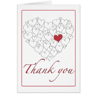 Happy Red Heart Thank You Card