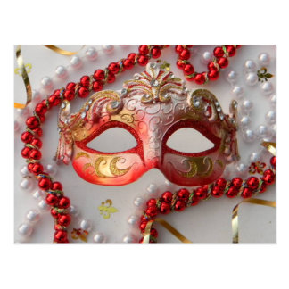 HAPPY RED MARDI GRAS WITH PEARLS POSTCARD