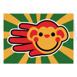 Happy Red Monkey Smiley Face Card
