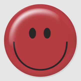 Happy red smiley face classic round sticker
