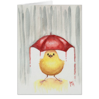Happy Red Umbrella Greeting Card
