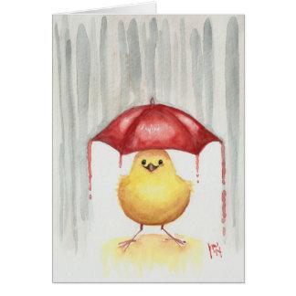 Happy Red Umbrella Greeting Card