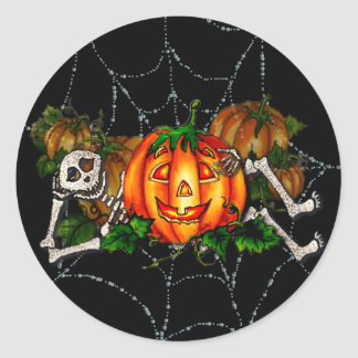 HAPPY RESTING SKELETON & JACK by SHARON SHARPE Classic Round Sticker