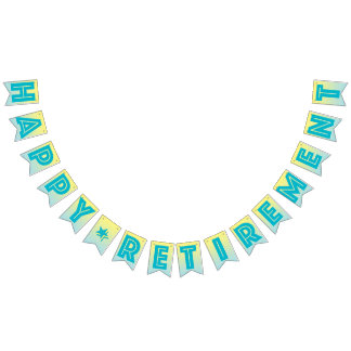 HAPPY RETIREMENT BANNER, Tropical Blue And Yellow Bunting Flags