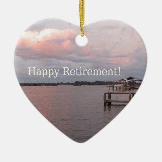 Happy Retirement Cedar Key Florida Ceramic Heart Ornament