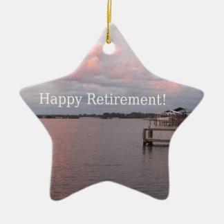 Happy Retirement Cedar Key Florida Ceramic Star Ornament