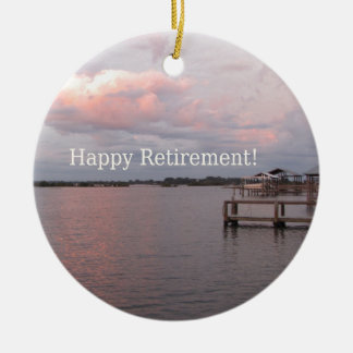 Happy Retirement Cedar Key Florida Round Ceramic Ornament