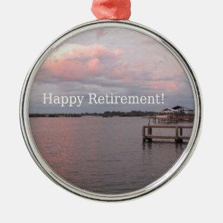 Happy Retirement Cedar Key Florida Silver-Colored Round Ornament