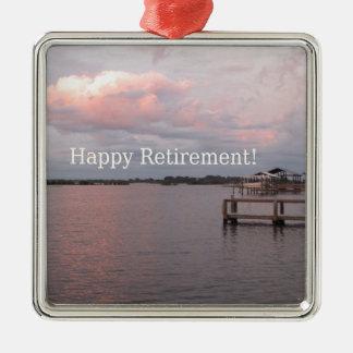 Happy Retirement Cedar Key Florida Silver-Colored Square Ornament
