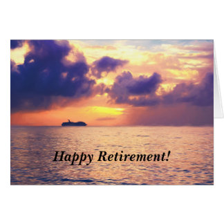 Happy Retirement Cruise In Sunset Card