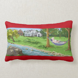 Happy Retirement Personalize (Lady in Hammock) Lumbar Pillow