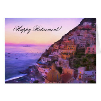 Happy Retirement Positano Italy sunset Card