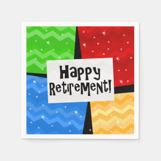 Happy Retirement, Primary Color Squares Party Disposable Napkin