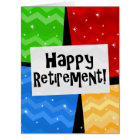 Happy Retirement, Primary Colour Squares Party Card