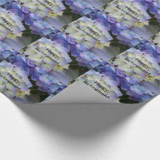 Happy retirement, purple hydrangea gift wrap.