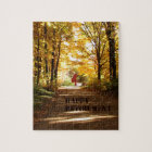 Happy Retirement Red Barn Autumn Road Jigsaw Puzzle
