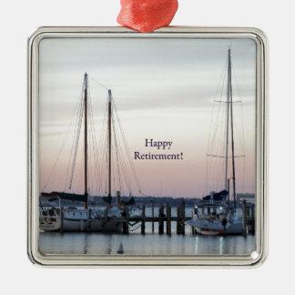 Happy Retirement Sailboats Sea Metal Ornament