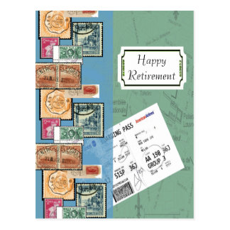 Happy Retirement Stamps of the World Postcard