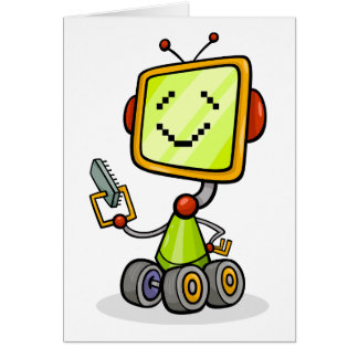 Happy Robot On Wheels Greeting Cards