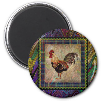 Happy Rooster 2 Inch Round Magnet