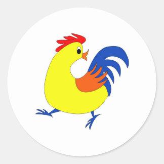 Happy Rooster Round Sticker